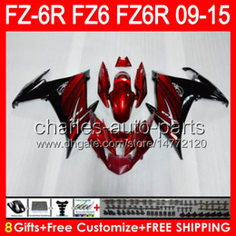 8gifts Per YAMAHA FZ6R 09 10 11 12 13 14 15 FZ6N FZ6 Rosso scuro 89NO6 FZ-6R FZ 6R 2009 2010 2011 2012 2013 2014 2015 nero Carena rosso scuro da yamaha fz6 fornitori