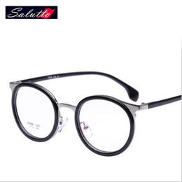 Wholesale Titanium Eyeglasses For Women - Wholesale- SALUTTO Eyeglasses Frames For Women Cute Round Round Metal Frame Glasses Prescription Eyewear Nerd Computer Glasses