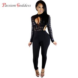 Wholesale Womens Sexy See Through Jumpsuits - Wholesale- Plus Size Autumn 2016 Sexy Long Rompers Womens Jumpsuit Mesh See Through Hollow Out Bodycon One Piece Club Jumpsuit Black White