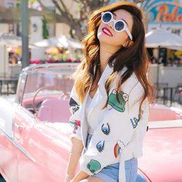 Wholesale Ladies Short Top Jeans Jacket - Wholesale- Cool Denim Jacket 2016 Ladies Spring Autumn Stylish Short Top Jacket Coat Clothing Printed White Women Jeans Jacket Veste
