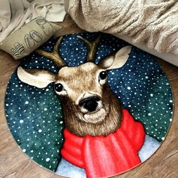 Wholesale 2018 brand new round Christmas reindeer carpet cm New year prayer rug non slip Fashion home carpeting decorations