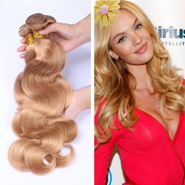 Wholesale Remy Wavy Honey Blonde - Honey Blonde Brazilian Virgin Hair Body Wave Human Hair Weave 3 Bundles Color 27# Top Grade Brazilian Wavy Remy Hair Extensions 3Pcs Lot