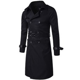 Wholesale Trench Coat Men Waist - Wholesale- Trenchcoat Mens Design Long British Style Trench Coat Beige double breasted Spring Jackets Coat Windbreaker Overcoat Casacos 3
