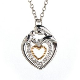 Wholesale Gift For Mother Christmas - Mom And Baby Necklace Mother's Day Gift Mother Mum Son Daughter Child Crystal Rhinestone Heart Shaped Pendant Necklace For Women