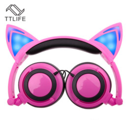 Wholesale Earphone For Apple Iphone - 2017 cat ear headphone Foldable flashing glowing Headsets with LED light for apple iphone 7 plus 6S plus MP3 Cell phone Earphones
