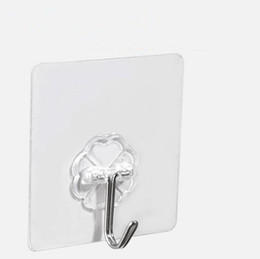 Wholesale Plastic Clothes Hangers Sale - hot sale home bathroom kitchen accessories white transparent self adhesive holder hanger wall hooks for storage free shipping