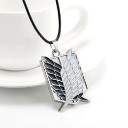 Wholesale Cosplay Anime Attack Titan - Metal Anime Attack on Titan Wings of Liberty Pendant Necklace Shingeki no Kyojin Cosplay Necklace Survey Corps Choker Necklace