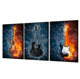 Wholesale Guitar Music Wall Decor - HD Print 3 Panels Canvas Art Black Burning fire Guitar Music Painting Room Decor Canvas Wall Art Posters Picture