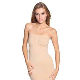 Wholesale Tube Ladies Dresses - Wholesale- Plus Size Sexy Lady Slimming Body Shaper Dress Adjustable Underwear Control Full Slips Tube Dress For Bride Body Shaper