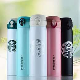 Wholesale Steel Thermal Mug - 6 Colors Starbucks Thermos CUP Vacuum Flasks Thermos Stainless Steel Insulated Thermos Cup Coffee Mug Travel Drink Bottle 500ml