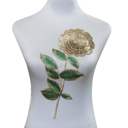 Wholesale 3d Rose Lace Trim - 1piece Gold Metallic 3D Patches Lace Rose Embroidery Motif Cord Bridal Dress Applique Sew On Sticker Trimming for DIY T1647