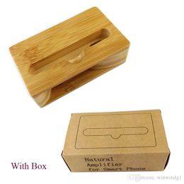 Wholesale Wholesale Mobile I Phone - U&I ®Premium Natural Bamboo Wooden Holder for cell phone Handmade wood holder for mobile phone accessrios Wooden speaker