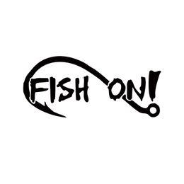 Wholesale Hook Jdm - 2017 Hot Sale Car Stying Fish On With Fishing Hook Vinyl Decal Sticker Boat Lake Creek River Bass Trout Jdm