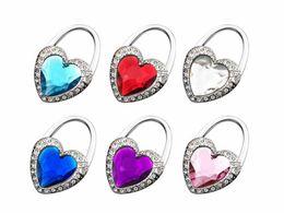 Wholesale Handbag Hook Holders Heart - New Fushia Gift Unique Souvenir Rhinestone Love Heart Crystal Folding Purse Hook Handbag Hanger Holder