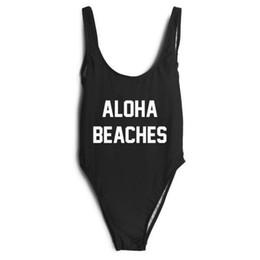 Wholesale Swimsuit Body Short - ALOHA BEACHES letter printing piece of body swimsuit bikini vest shorts