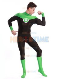 Wholesale Green Lantern Zentai - Green Lantern Costume halloween cosplay party suit lycra spandex The most classic Zentai Green Lantern Bodysuit for Adults Kids