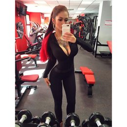 Wholesale Black Hooded Bodysuit - Wholesale- autumn bodysuit women fitness jumpsuit hooded sexy bandage bodycon romper black long sleeve hoodie workout overall ZC2152