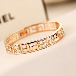 Wholesale Costume Jewelry Sets For Sale - Hot Sale Hollow Out Cuff Bracelet for Women Gold Plated Crystal Chrams Bracelet & Bangles Party Costume Temperament Jewelry
