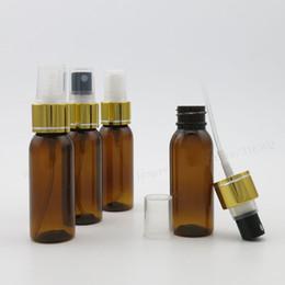 Wholesale Wholesale Glass Mist Bottles - 30ml Round Shape Amber Pet perfume bottle with aluminum clourse 30cc Mist Spray Fragrance Plastic Bottle 50pcs lot