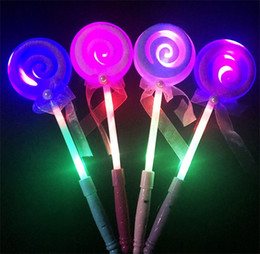 Wholesale Glow Lollipop - 2017 34CM Cute Lollipop Ribbons LED Glowing Stick Flashing Light Kids Concert Wedding Birthday Party Decoration