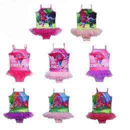 Wholesale Child Bikinis For Sale - Hot Sale 8 Style 4-9Years Kids Swimwear Summer Trolls Swimsuit For Girls Toddler Beachwear Children Girl Bikini Bathingsuit Wholesale
