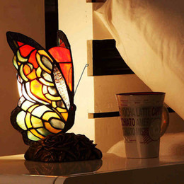 Wholesale Iron Hand Warmer - Butterfly Shape Table Lamp Stained Glass Tiffany Lamp For Living Room Bedside Lights Decor Tiffanylamp Glass Art Table Lamps