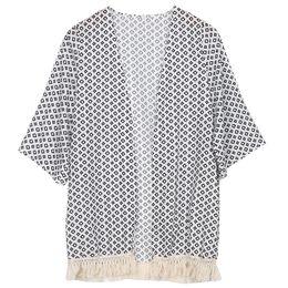 Wholesale Wholesale Chiffon Cardigan - Wholesale- New Women Kimono Coat Geometry Printed Summer Chiffon Shawl Cardigan 2017 clothes