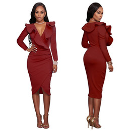 Wholesale One Piece Ladies Clothes - Sexy Bodycon Dress V neck Knee Length Clothing One Piece Long Sleeve Pencil Maxi Ladies Special Occasion Party Causal Formal Dresses 2017