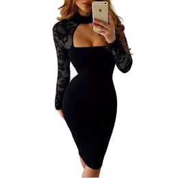 Wholesale Sexy Black Lace Turtleneck Dress - Back Zipper Turtleneck Long Sleeve White Black Lace Sexy Club Dress 2017 New Winter Women Elegant Bodycon Pencil Party Dresses