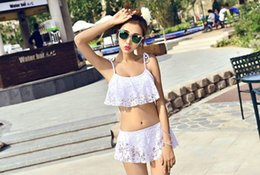 Wholesale Skirted Bikinis - 2017 South Korea swimwear new style sexy lace pure white split bikini skirt swimsuit fashion bikini