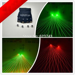 Wholesale Green Laser Dj 1pcs - Wholesale- 1Pcs stars beam galaxy green Laser Gloves Dancing Stage Show Light With 4pcs lasers and 80 beams of light for DJ Club Party Bars