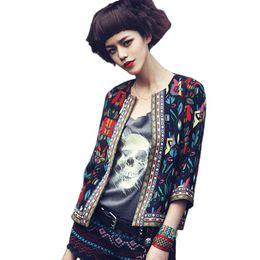Wholesale Celebrity Style Jacket - Wholesale- Spring Autumn Women Fashion Ethnic Style Slim Outwear Parka Colourful Print Floral Coat Celebrity Jacket Sep26