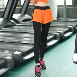 Wholesale Grey Leggings Woman - Compression Pants Women Yoga Pant Sports Tights women 2 in 1 Sport Leggings fitness clothing running gym leggings ladies