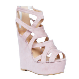 Wholesale pink suede wedges - Zandina Womens Fashion Handmade 15cm Wadge High Heel Hollow Zipper Closure Party Sandals Shoes Pink XD098