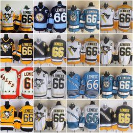 Wholesale Gold Mario - Men's Pittsburgh Penguins #66 Mario Lemieux Gold Yellow Black White Throwback CCM Jersey Pittsburgh Ice Hockey Jerseys Cheap