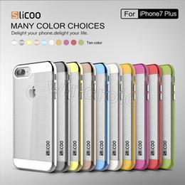 Wholesale Iphone Fashion Logo - Slicoo Phone Case Electroplate Brushed Drawbench Crash Proof High Quality PC Transparennt TPU Simple Fashion For Iphone 8 7 plus i8 + logo