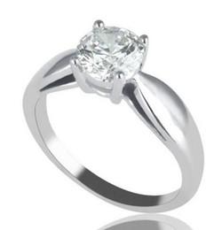 Solitär verlobungsring weißgold online-2 Ct Solitaire Rundschnitt verbesserte Simulation Diamant-Verlobungsring F / I1 14K Weißgold