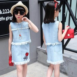 Wholesale Girls Denim Sleeveless Shirts - Retail summer 2017 denim T shirt skirt suit Childrens clothing sleeveless rose embroidery Free Necklace Kids Clothes X78452