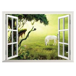 Wholesale Window Wall Decal Vinyl View - Hot sale 1 Pcs 2016 Newest 3D Window Ocean View Removable Wall Art Sticker Vinyl Decal Home Decor Free Shipping MTY3