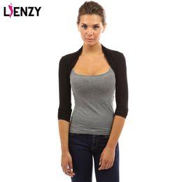 Wholesale Short Pashmina - LIENZY Solid Women's Long Sleeve Slim Casual Bolero Shrug 4 Color 3 Size Short Coat For Spring Women Clothing