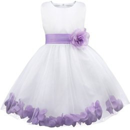 Wholesale Wedding Gown Rose Petal - 2017 New Arrival White-Lilac Rose Petals Tulle Flower Girl Dresses Wedding Party Tutu Ball Gowns For Kids Pretty Infant Toddler Dress