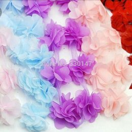 Wholesale White Fabric Headbands For Girls - Wholesale-100pcs lot Chiffon Flowers For Headbands Wedding Decoration Fabric Flowers Diy Girl Hair Accessories Dress Ornaments