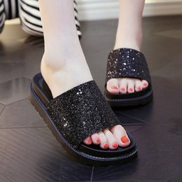 Wholesale Silver Platform Wedge Heels - Summer 2017 new leather sandals and slippers women platform sandals shoes wedges platform shoes with comfort in Korea