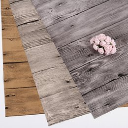 Wholesale Photography Backgrounds Backdrops - wood grain photography backdrop paper 1.6*1.6ft 3 designs old wood textures waterproof PVC film cover photography background materials