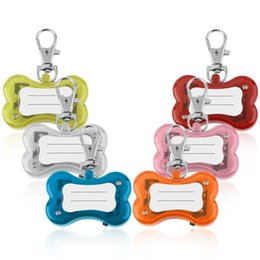 Wholesale Dog Lead Clips - Pet Dog Cat ID Tags LED Flash Bone Safety Pendant Collar Circular Light Clip Visable Worldwide store
