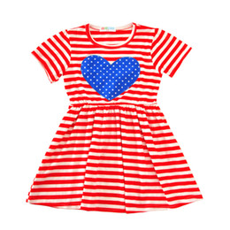 Wholesale Girls Patching Dress - 5colors Girls loving heart short sleeve dress cute baby girls sweet heart patched princess skirt for 2-6T