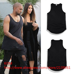 Wholesale Sexy S Curve - Wholesale- 2016 New kanye west men's vest fashion Casual men curved hem urban clothing Tyga undershirt extended vests top tee 5 styles
