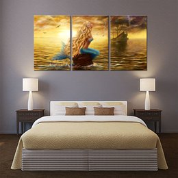 3 Panels Beautiful Princess Sea Mermaid Paintings Mermaid Pictures Prints  On Canvas Wall Art For Home Decor With Wooden Framed