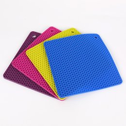 Wholesale Bamboo Gel - Square Silica Gel Placemat Honeycomb Thickening Food Grade Silicone Mat Anti Scald Non Slip Heat Insulation Pad Durable 2 8zy R