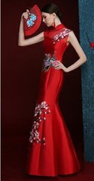 Wholesale Model Dress Cheongsam - Long tail burst models temperament embroidered retro Bride Bridesmaid toast Banquet Chinese cheongsam show evening dress